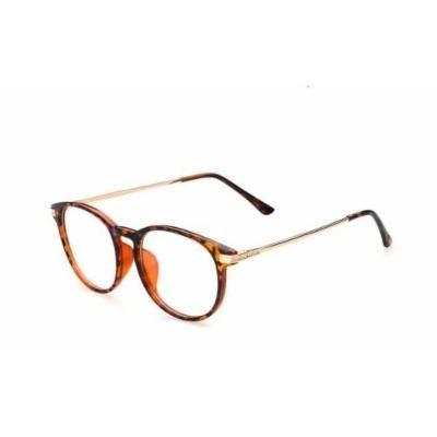 Glasses frames hipster KE Leopard Retro Vintage Round Circle Frame Glasses Clear Lens Eye Glasses