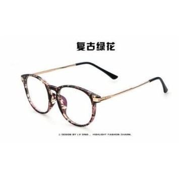 Spectacles retro KE Vintage Green Floral New Fashion Retro Vintage Round Circle Frame Glasses Clear Lens Eye Glasses