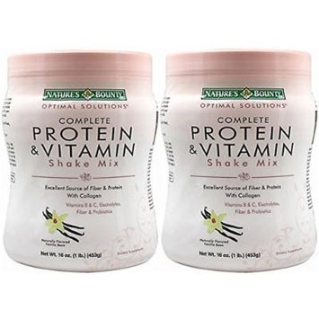 Natures Bounty Solutions Complete Protein Vitamin Shake, Mix Vanilla 16 oz (Pack of 2)