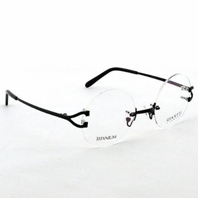 Spectacles retro KE Black 49mm Round Size Pure Titanium Rimless Vintage Eyeglass Frame Spectacles G280439