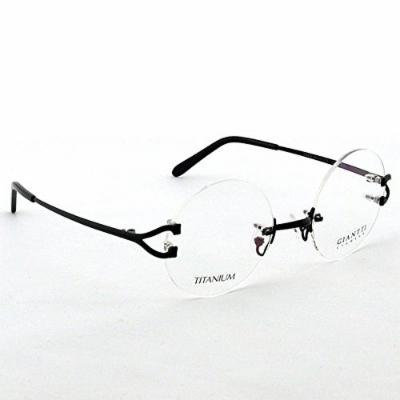 Spectacles retro KE Black 49mm Round Size Pure Titanium Rimless Vintage Eyeglass Frame Spectacles G280439