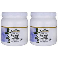 Swanson Premium 100% Pure Brewer's Yeast Powder GMO-Free (Two Jars each of 16 Ounces)