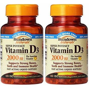 Sundown Naturals Super Potency Vitamin D3, 2000 IU, 300 Softgels (2 X 150 Count Bottles)