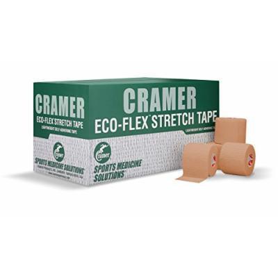 Cramer Eco-Flex Stretch Tape, Self-Stick, Cohesive, Bulk Case of 6 Yard Rolls, Assorted Colors, 3