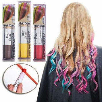 Professional Waxy Hair Chalk Pens Hair Chalk Salon Temporary Hair Color Dye Touch-up (3 Packs-Coffee+Yellow+Red#34)