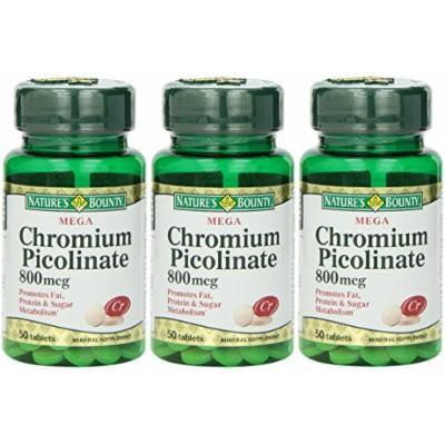Nature's Bounty Mega Chromium Picolinate 800 Mcg, 150 Tablets (3 X 50 Count Bottles)