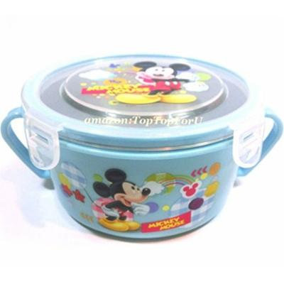 Splittable Leak Proof Mickey Mouse Heat Insulation Stainless Steel Lock Bowl PP Container-Microwave Safe