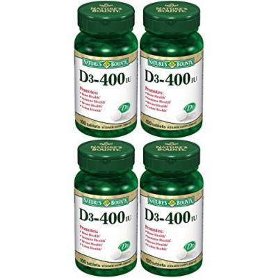 Nature's Bounty D3-400 Iu Tablets Vitamin 100 Ct (Pack of 4)