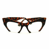 Tortoise High Fashion Runway Croped Exposed Lens Cat Eye Glasses