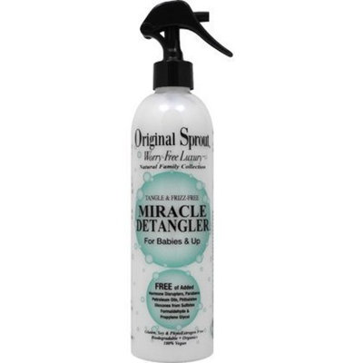 Original Sprout Miracle Detangler Spray (12 oz) - Vegan and Gentle Formula Removes Tangles for Straight, Smooth, Silky Hair for Babies, Children and Adults