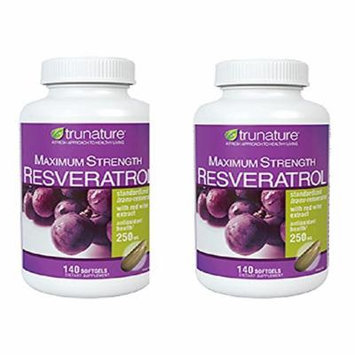 TruNature Resveratrol Maximum Strength - 2 Bottles, 140 Softgels Each