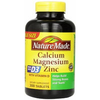Nature Made Calcium Magnesium Zinc Tablets with Vitamin D, New Mega Size Package 4 Jars 300 Each
