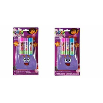 Dora the Explorer Lip Balm 3 Pack Set with Carrying Pouch x 2