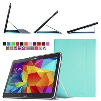 Fintie Smart Book Cover Case Supports Three Viewing Angles for Samsung Galaxy Tab 4 10.1 inch tablet, Blue