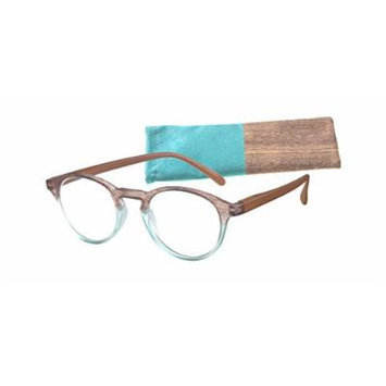 Women's Round Reading Glasses Aqua/Brown with Wood Patterned Temples By ICU Soft Case (3.00)