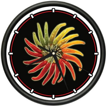 Clock Zone HOT PEPPERS ~Wall Clock~ sauce red chili pepper cayenne