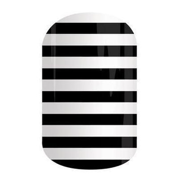 Jamberry Nails Half Sheet Nail Wrap Stripes, Dots & Chevron (Black & White Stripe)