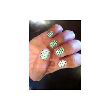 Jamberry Nails Half Sheet Nail Wrap Stripes, Dots & Chevron (Mint Green & Gold Stripe)