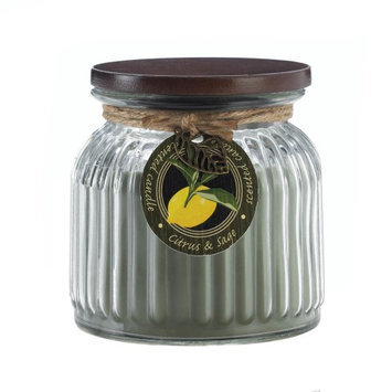 Koehlerhomedecor Citrus & Sage Ribbed Jar Candle