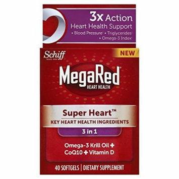 MegaRed Super Heart Omega 3 Krill Oil plus COQ10 & Vitamin D, 40 count Pack of 3