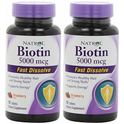 Natrol Biotin 5000 mcg Fast Dissolve Tablets, Strawberry, 90-Count (PCK 2)