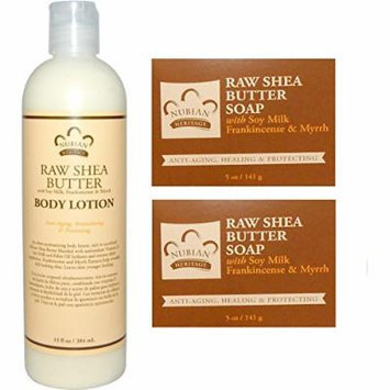 Nubian Heritage Raw Shea Butter 13 oz Lotion + 2 - 5oz Soaps