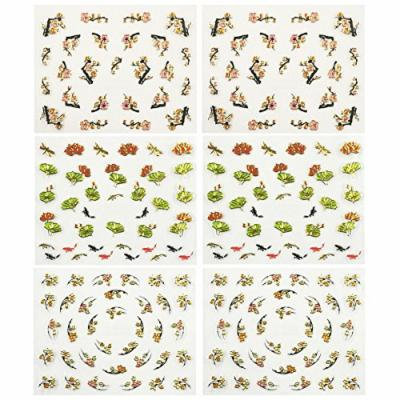 Fingernail Stickers Nail Art Nail Stickers Self-Adhesive Nail Stickers 3D Nail Decals - Asian Inspired Lotus, Ginkgo Leaves, Cherry Blossoms & Koi (3 designs/6 sheets)