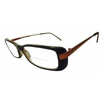 Peepers Extra Credit Clear Bifocal Rectangular Reading Glasses, Brown, +1.50