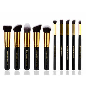 10pcs Professional Make up Brushes Set Foundation Blusher Kabuki Powder Eyeshadow Blending Eyebrow Brushes Black/gold