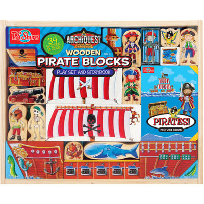 T.S. Shure ArchiQuest Wooden Pirate Blocks Play Set and Storybook