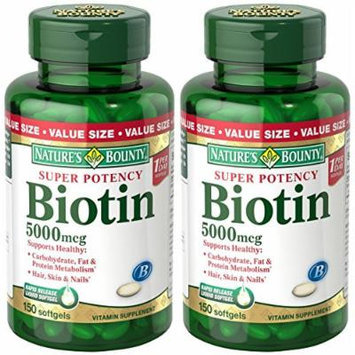 Natures Bounty Super Potency Biotin 5000 mcg, 300 Softgels (2 X 150 Count Bottles)