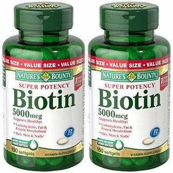 Natures Bounty Super Potency Biotin 5000 mcg, 300 Softgels (2 X 150 Count Bottles)