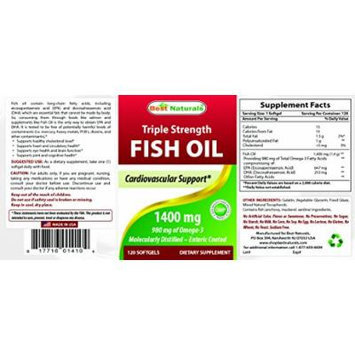 Fish Oil 1400 mg 120 Softgels - Triple Strength Fish Oil - Providing in 980 mg of Omega-3s - Molecularly Distilled - Enteric Coated