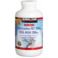 Kirkland Signature Extra Strength Glucosamine HCI 1500mg, With MSM 1500 mg, New Mega Size Package 4 Bottles 375 count each, 1500 Tablet Value Pack