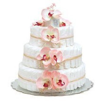 Large Pink Orchids Diaper Cakes by Bloomers