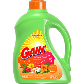 Ultra Gain Gain With FreshLock Island Fresh Liquid Detergent 64 Loads 100 Fl Oz