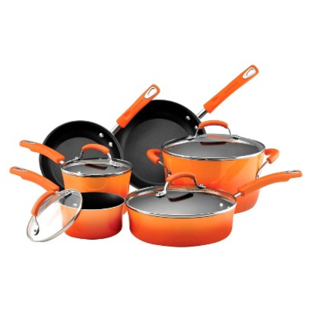 Rachael Ray Porcelain II Orange 10 piece Cookware Set