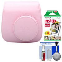 Fujifilm Groovy Camera Case for Instax Mini 8 (Pink) with 20 Twin Prints + Cleaning Kit