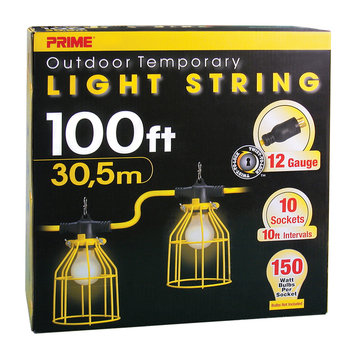 Gehr Electrical Products Prime 12/3 SJTW TTL Temporary Light String With Metal Cages, 100-Feet