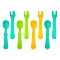 Re Play Re-Play 8 Count Utensils, Aqua, Green, Sunny Yellow []