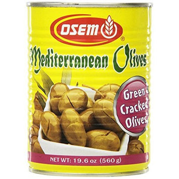 Osem Mediterranean Cracked Green Olives (Kosher for Passover), 19.6-Ounce Cans (Pack of 12)