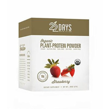 22 Days Nutrition Organic Plant Protein Powder, Strawberry, 12 Count