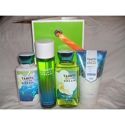 Bath & Body Works Tahiti Island Dream Body Mist Shower Gel Body Lotion Body Scrub Lg Size Comes with Bag ,Tag and Wrap