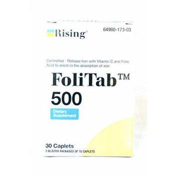 FoliTab 500 Controlled-Released Iron with Vit. C and Folic Acid, 30 caplets/box