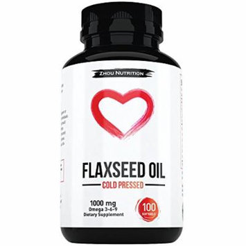 Flaxseed Oil Softgels To Promote A Healthy Heart, Glowing Skin, and Strong & Beautiful Hair & Nails - Cold-Pressed - Essential Omega 3 6 9 Fatty Acids - 1000 mg per serving - Manufactured in the USA