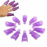 Sankuwen® 10pc Plastic Nail Art Soak Off Cap Clip Polish Remover Tool (Purple)