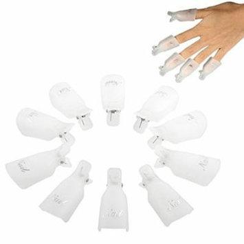 Sankuwen® 10pc Plastic Nail Art Soak Off Cap Clip Polish Remover Tool (White)