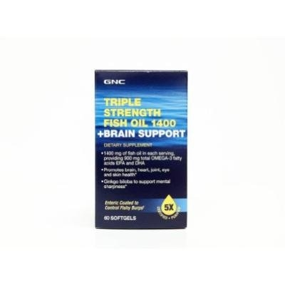 GNC Triple Strength Fish Oil Collection (60 Softgels, Triple Strength Fish Oil 1400 + Brain Support)