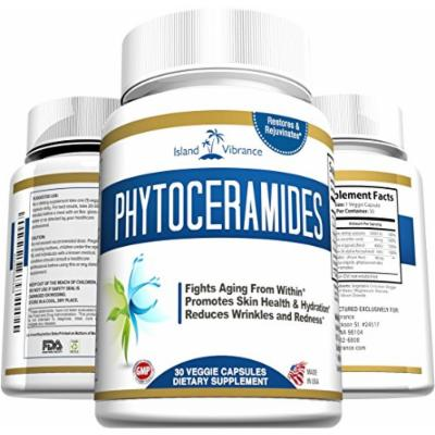 Phytoceramides Skin Care Supplement Plus Vitamins A, C, D & E - Plant Derived Rice Based Anti-Aging Formula Promotes Cellular Skin Hydration, Stimulates Collagen, and Diminishes Fine Lines and Wrinkles - 30 Veggie Capsules, Made in USA