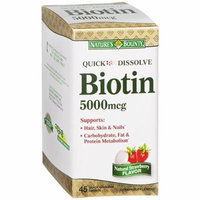 Natures Bounty Biotin Quick Dissolve Tablets, 5000 mcg, 45 Count Pack of 5